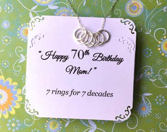 70th BIRTHDAY Gift For Women 7 Rings Decades Necklace Mom STERLING SiLVER Birthday Grandma Sister 50th 60th