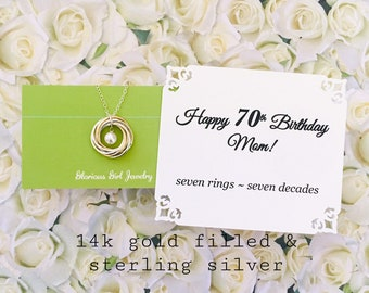 70th BIRTHDAY Gift For Mom 7 Rings Decades Grandma Necklace Sterling Silver Or And Gold Connected