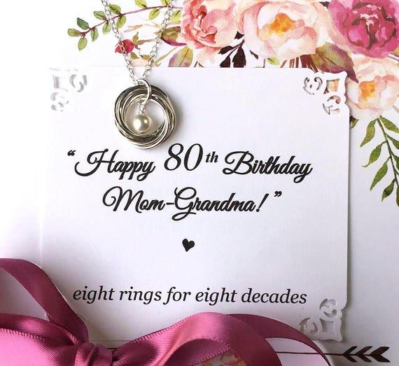80th BIRTHDAY Gift For Mom Grandma Birthday Necklace