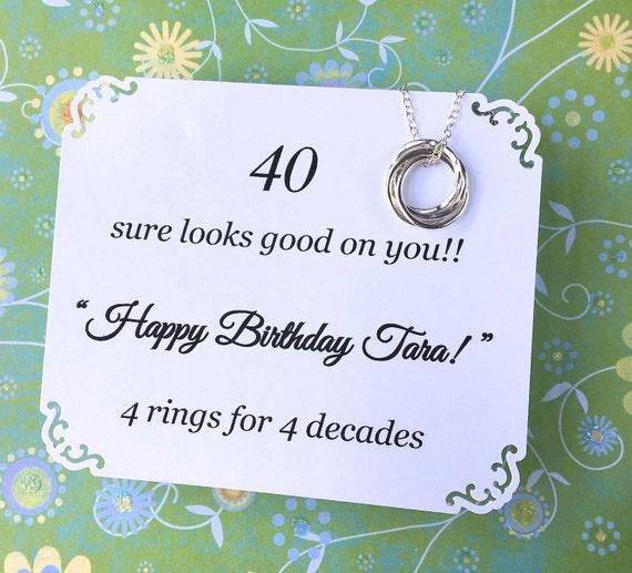 40e Anniversaire Cadeau Collier Avec Poème 4 Inséparables En Argent Sterling Anneaux Pour 4 Décennies Un Ami De La Sœur De Cadeau Danniversaire
