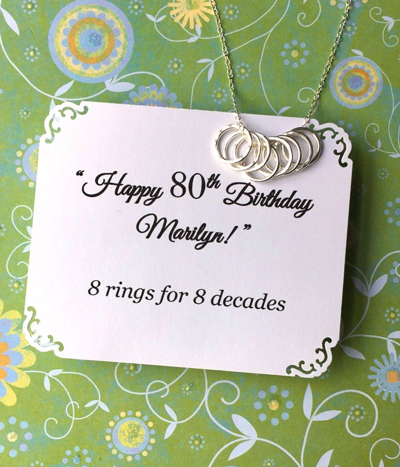 80th BIRTHDAY Gift For Grandma 8 Rings Decades Necklace