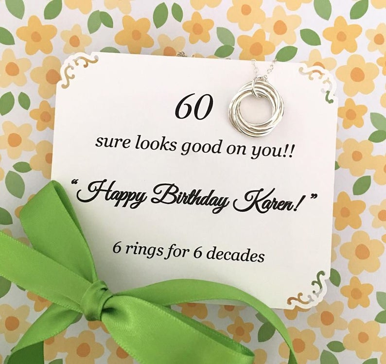 60th BIRTHDAY Gift Necklace For Women Sterling Silver