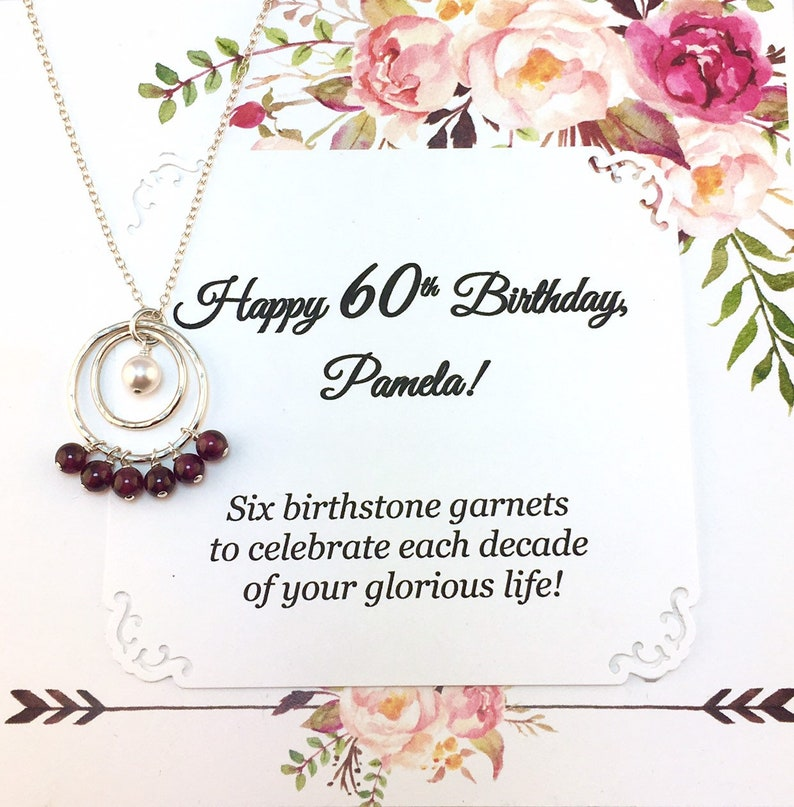 60th Birthday Gift For Women JANUARY Birthstone 6 Garnets