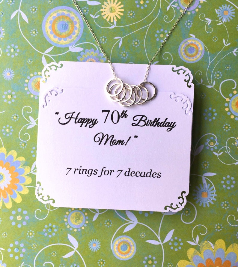 70th BIRTHDAY Gift For Women 7 Rings Decades Necklace