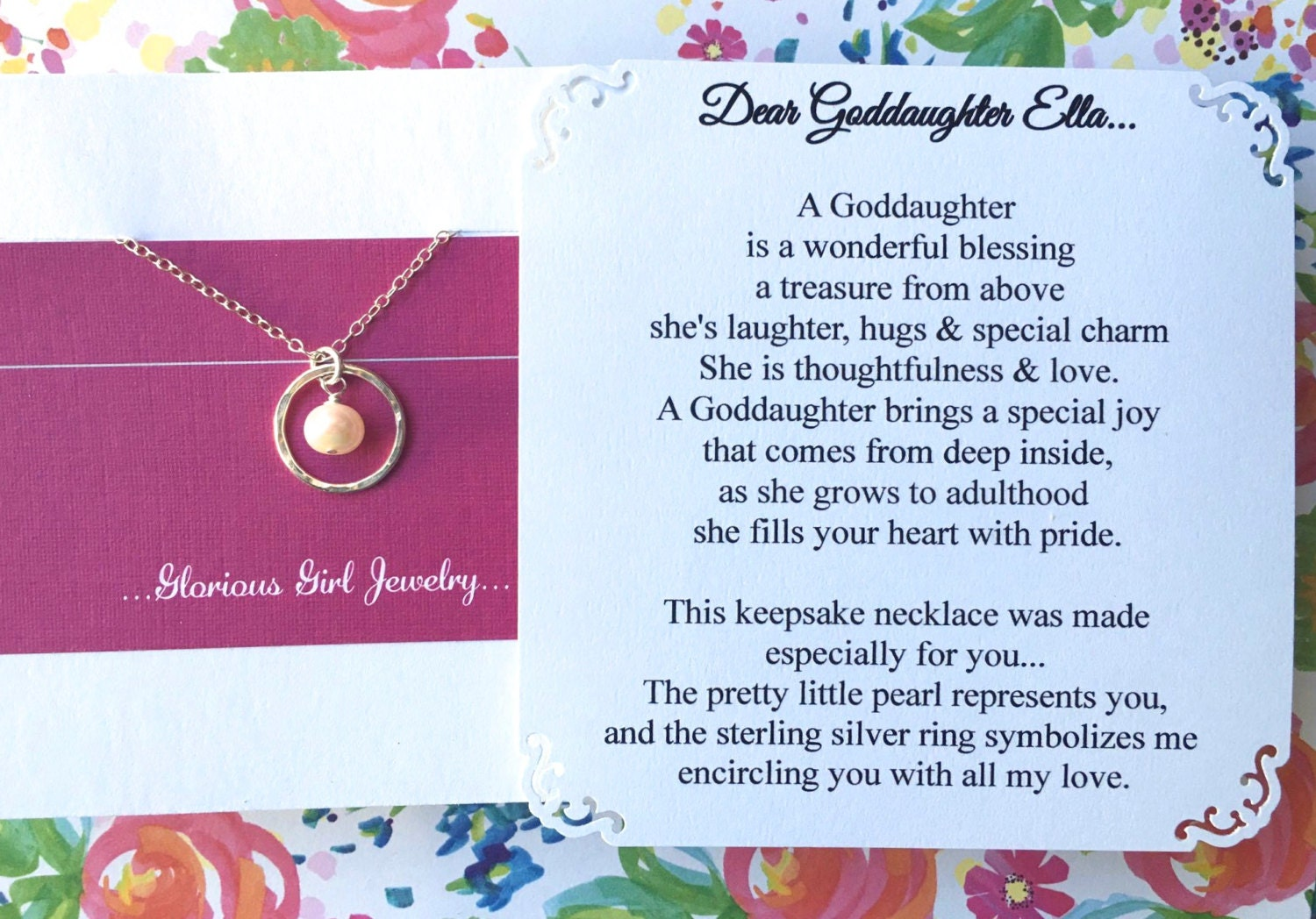 GODDAUGHTER Gift With POEM CARD Goddaughter Jewelry Gift for | Etsy