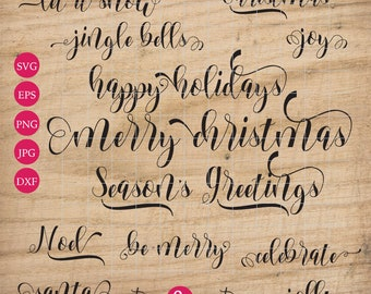 Seasons greetings etsy christmas bundle svg words phrases decorative script swirls farmhouse cut file swirly calligraphy happy holidays santa seasons greetings joy m4hsunfo