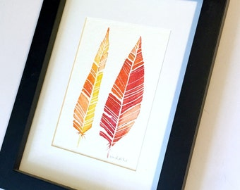 Framed Feather Watercolor Original Art, Two Feathers Watercolor Paintings, Original Feather Art, Red Orange Gold Feathers Original Art