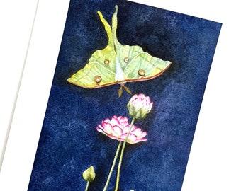 Luna Dreams Art Print, Luna Moth Art Print, Luna Moth Print from Watercolor Painting, Unframed Luna Moth Art, Luna Moth and Flower Art