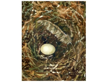 The Feather and The Egg Fine Art Print, Nest Feather Egg Print from Original Painting, Signed Nest Egg Feather Art 8x10 Print, Nature Art