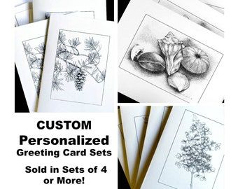 CUSTOM Greeting Cards Sets of 4 or More, PERSONALIZED Greeting Card Sets, Insert Your Own Greeting Note Cards, Christmas Cards,Holiday Cards