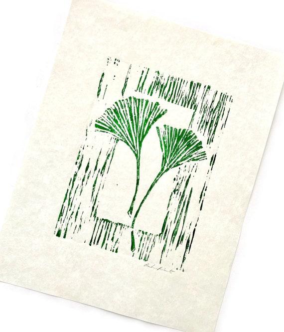 Gingko Leaf Linoleum Block Print