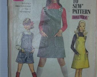 Vintage 1968 Simplicity Junior Dress or Jumper Pattern 7877