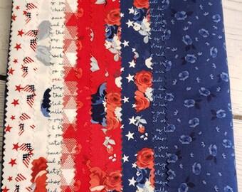 Land of Liberty - Fat Quarter Bundle - My Minds Eye for Riley Blake fabrics - 12 piece Fabric Bundle -  Quilting Fabric