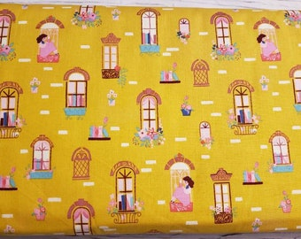 Beauty and the Beast - Window Reading by Jill Howarth for Riley Blake - Fabric by the yard C9531-GOLD