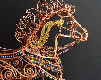 Carousel Pony Copper Wire Beaded Sculpture