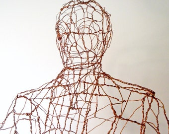 Office Man - Lifesize Copper Wire Sculpture