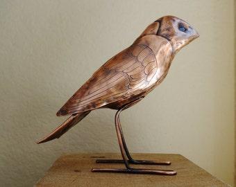 Copper Bird Sculpture Finch OOAK Hammered Engraved