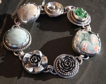 garnet druzy, ocean jasper, aquamarine, sea biscuit and sterling silver metalwork bracelet