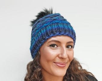 True blue beanie: ladies wintery pom pom hat