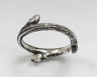 Sterling silver twig ring – cast from nature