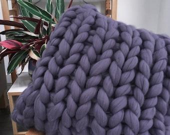 Hand knitted chunky wool cushion, 50cm square – jumbo 100% merino wool