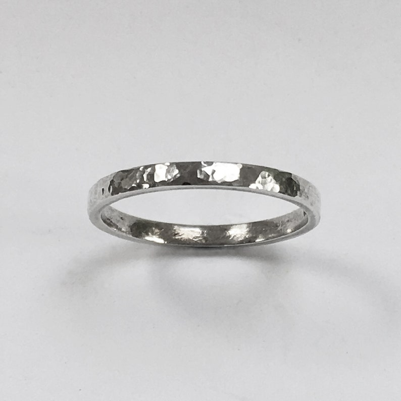 Sterling silver hammered ring  Hallmarked image 0