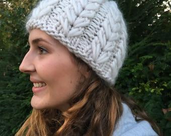 The softest hand knitted chunky 100% merino wheat 'n' barley stitch beanie, women's wool hat