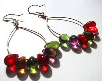 Hard Candy Earrings colorful glass teardrops on sterling silver hoops