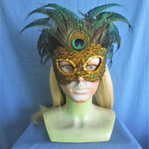 English ringneck pheasant feather mask with coquil accents   1062