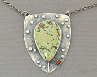 Variscite Fire Opal Shield Necklace. Unique Statement Necklace. Edgy. Fern Botanical Jewelry. Bold Artisan Pendant. One of a Kind Jewelry.