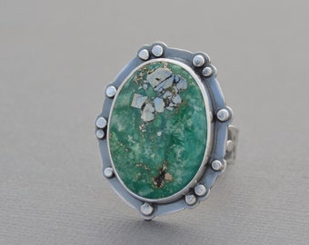 Green Turquoise Ring. Turquoise with Pyrite Sterling Silver Ring. Boho Style. Artisan Statement Ring. OOAK jewelry. Size 8.