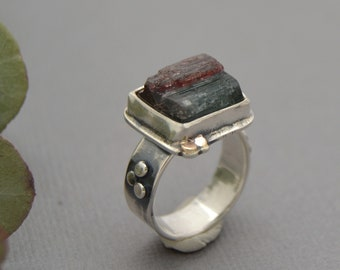 Raw Tourmaline Ring. Forest Green Pink Tourmaline with Gold Dots. Timeless Gemstone Sterling Silver Cocktail Ring. Size 6.