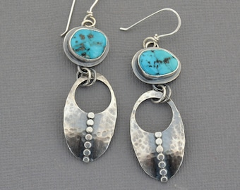 Blue Turquoise Earrings. Southwest Turquoise Nugget Dangle Earrings. Hammered Studded Sterling Silver Earrings. Handmade Unique Jewelry.