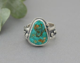 Turquoise Ring. Decorated Studded Turquoise Statement Ring. Wide Adjustable Band. Chunky. Boho Ring. One of a Kind Artisan Jewelry.