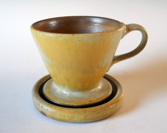 Ceramic pour over coffee filter with tray, handmade slow pour coffee maker