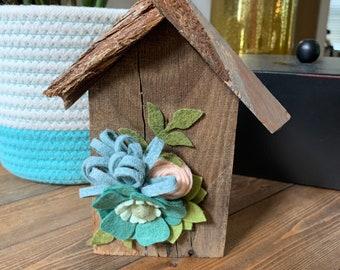 Barn wood felt flower house
