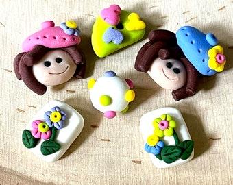 Sculpy Polymer Clay Beads Brunette Artist Girl