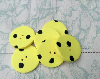 Six bright yellow handmade round spotty buttons..OOAK design...