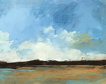 ACEO 1738, original painting, oil, landscape, 100% charity donation, sky, clouds