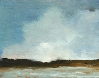 ACEO 1736, original painting, oil, landscape, 100% charity donation, sky, clouds