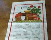 Vintage Hallmark Tea Towel Calendar 1978 Geraniums, Coffee Grinder Wall Hanging Birthday Gift Anniversary Strawberries