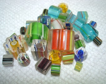 Assorted Glass Cane Beads (Qty 25-30+) B3151