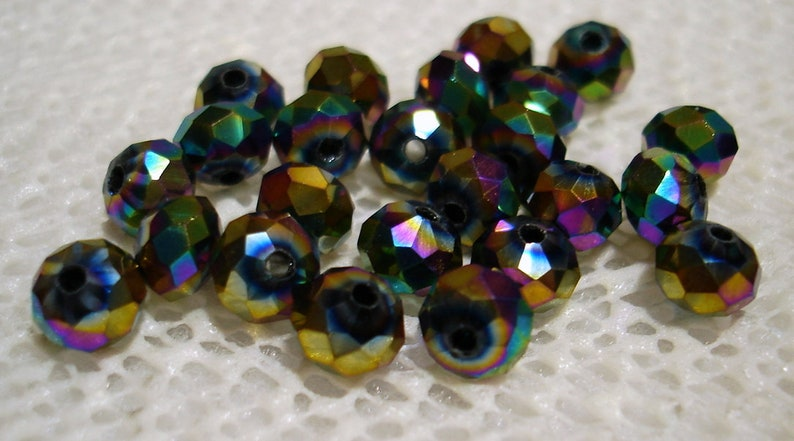 B4027 Rainbow Electroplated Faceted Glass Abacus 8x6mm Beads Qty 24
