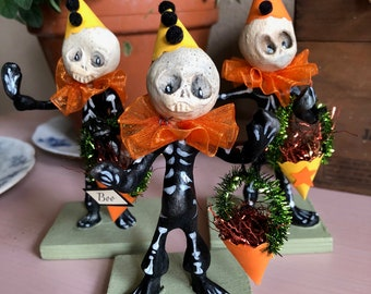 Set of Three Whimsical Folk Art Papier Mache' Skeletons Hand Scrupled Trick-or-Treaters by Terry Graber