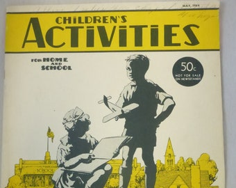 Vintage Magazine Children's Activities May 1944 Volume 10 Number 5