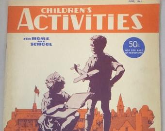 Vintage Magazine Children's Activities June 1944 Volume 10 Number 6