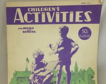 Vintage Magazine Children's Activities April 1944 Volume 10 Number 4