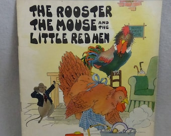 Antique Children's Book The Rooster The Mouse and the Little Red Hen  Linenette by Platt & Munk