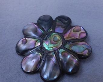 Vintage Abalone Shell Flower Brooch