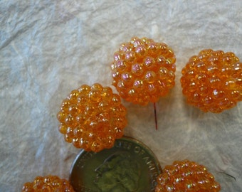 Vintage 15mm Raspberry Beads Tangerine (6) NOS